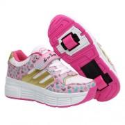 zapatillas con ruedas rosa dorado doble rueda