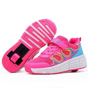 zapatillas con ruedas rosas con olas azules