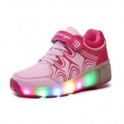 zapatillas con ruedas y luces rosa