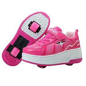 Zapatillas doble rueda rosa y blanco