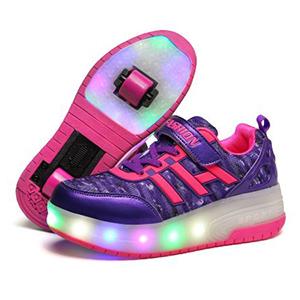 zapatillas dos ruedas y luces morado y fucsia