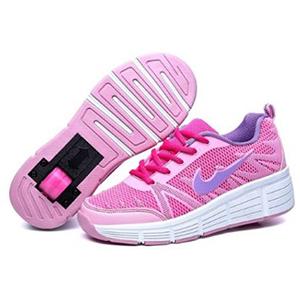 zapatillas rosas y moradas con cordones