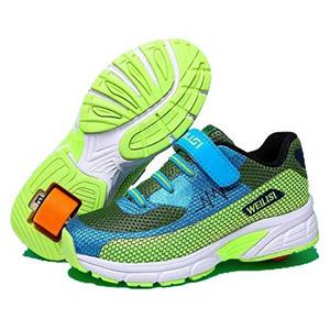 zapatillas ruedas azul y verde weilisi
